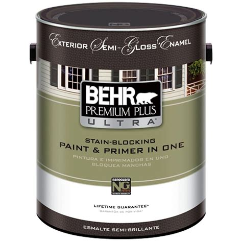 behr premium plus ultra 1 gal ultra white semi gloss enamel exterior 585001 the home depot