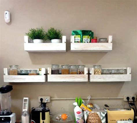 kitchen wall shelves reclaimed pallet shelves for kitchen