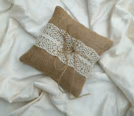hessian ring cushion burlap ring bearer pillow with lace
