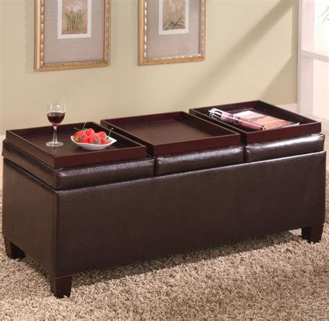 ottomans contemporary faux leather storage ottoman with