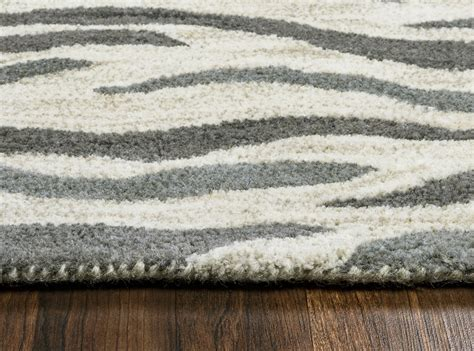 Zebra Area Rug 8x10 Valintino Abstract Zebra Wool Area Rug In Light Gray Blue 8 X 10