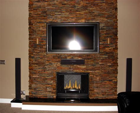 ideas  stacked stone fireplace based