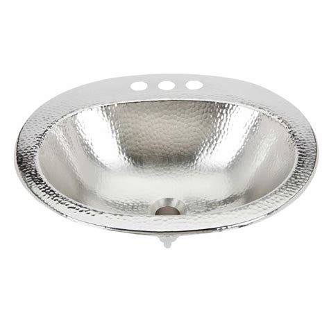 Oval Bathroom Sink Shop Sinkology Dalton Hammered Nickel Drop In Oval Bathroom Sink With Overflow At Lowes