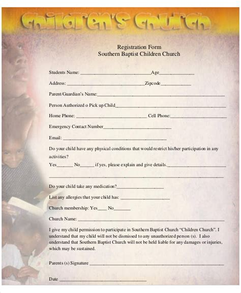 51 Registration Forms In Pdf Sle Templates Children S Church Registration Form Template