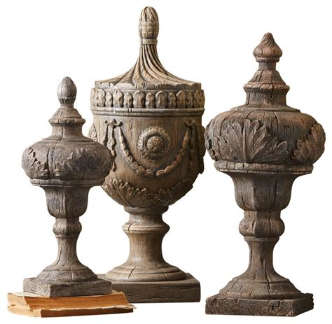 aquitaine decorative finials set of 3 mediterranean