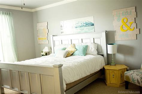 Yellow And Grey Master Bedroom by Master Bedroom Makeover