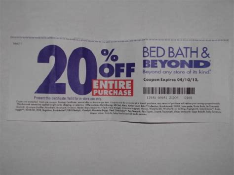 20 Coupon Bed Bath Beyond by Bed Bath And Beyond 20 Entire Purchase Coupon Bed