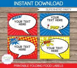 Food Tent Cards Template Superhero Food Labels Buffet Tags Tent Cards Party