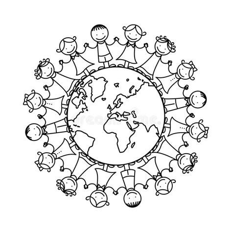clipart amicizia bambini felici intorno al mondo illustrazione vettoriale