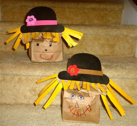 Paper Bag Scarecrow Craft - paper bag scarecrows fall stuff
