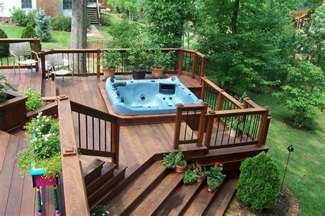 backyard deck designs with hot tub deck design hot tub backyard design ideas