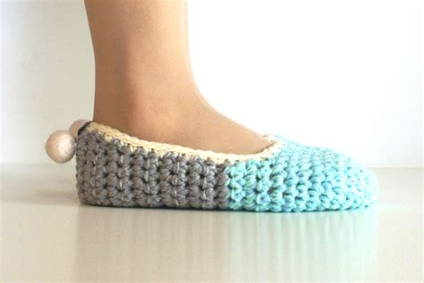 how to crochet house slippers crochet house slippers with felt pom pom mint grey on luulla