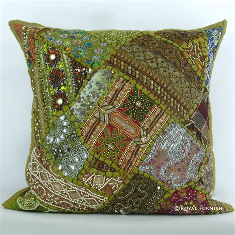 green vintage beaded patchwork embroidered accent throw