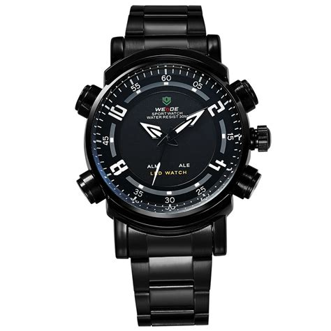 weide japan quartz stainless sports 30m water resistance wh1101 black white