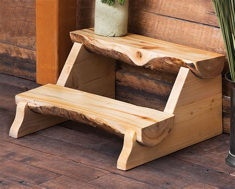 aspen log furniture aspen  log step stoolblack