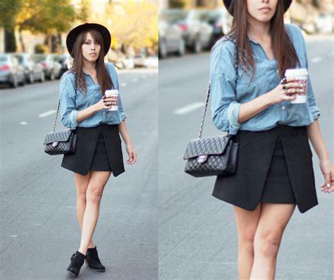 felix zara black skirt gap denim shirt