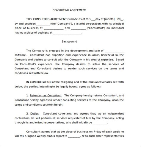 consultant agreement template free 12 consulting agreement templates free sle exle