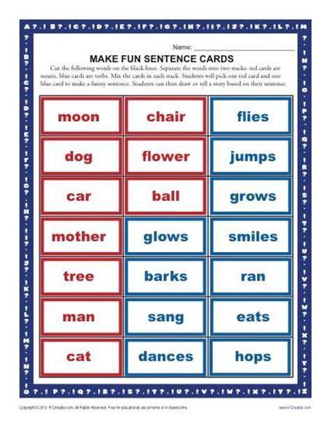 sentence pattern blueprint cards make a fun sentence kindergarten and first grade worksheets