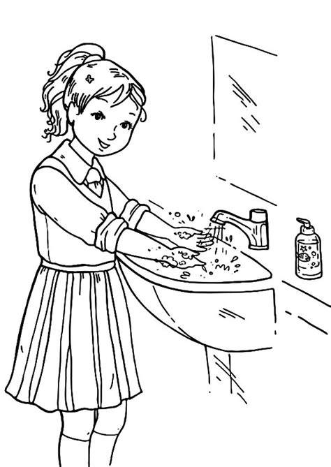 coloring page of washing hands hand washing coloring pages bestofcoloring com
