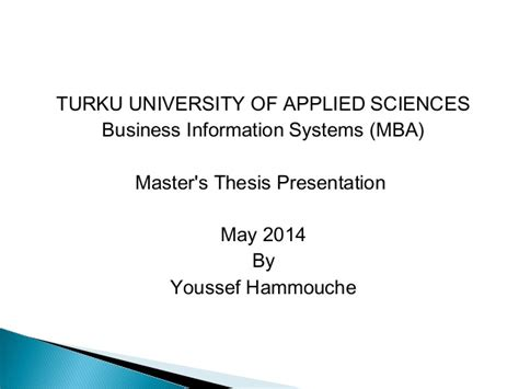 Master Thesis Pdf Mba by Master Thesis Presentation