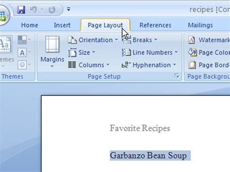 page layout ribbon word 2007 how to use a section format in word 2007 dummies