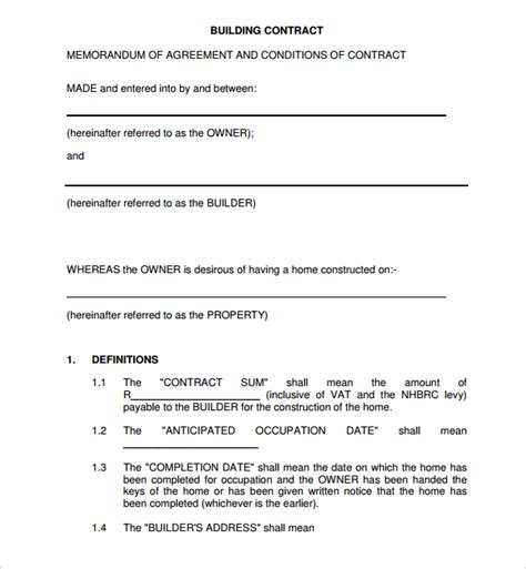 standard construction contract template sle construction agreement template 6 free documents