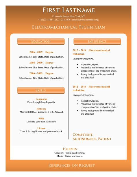 Resume Templates Templates For Microsoft Office Html