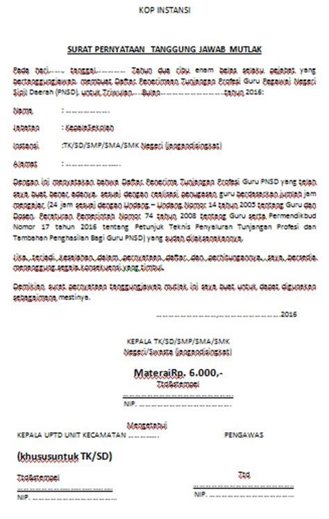 contoh surat pernyataan tanggungjawab mutlak sptjm
