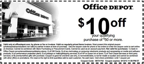 office depot coupons that can be combined office depot printable coupon to save 10 off out of 50