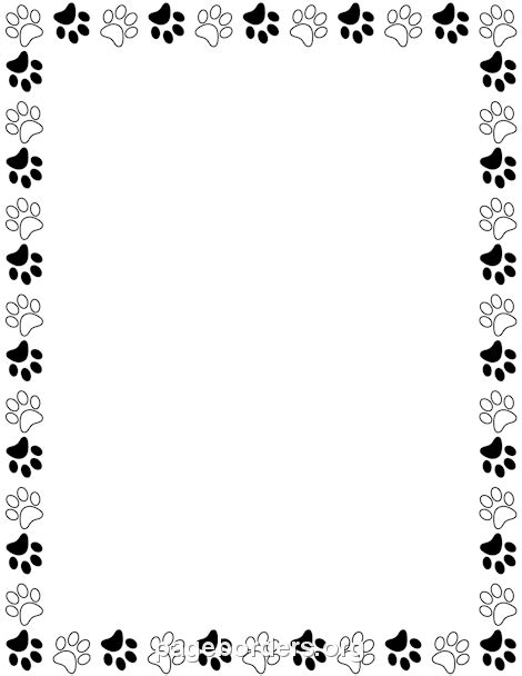 Paw Print Page Border Clip by Printable Black And White Paw Print Border Use The Border