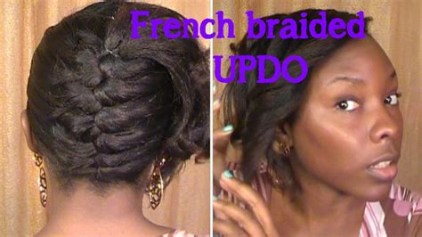 black hairstyles relaxed hair french braided updo on relaxed hair youtube