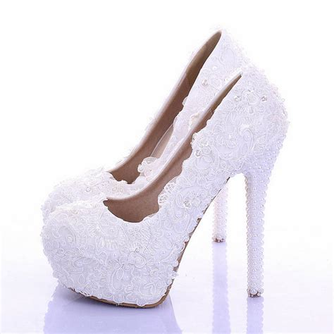 white lace wedding shoes ultra high heels platform shoes