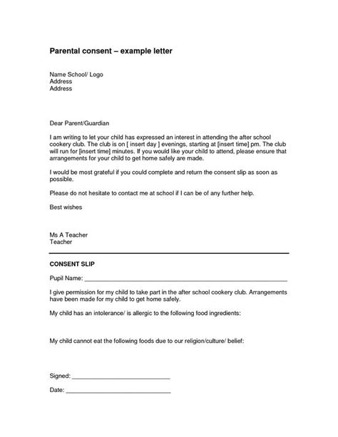 Parent Consent Letter For On The parental authorization letter for exle children
