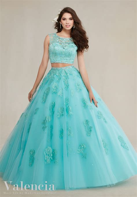 Dress Valencia Blue two tulle with lace quinceanera dress style 89088