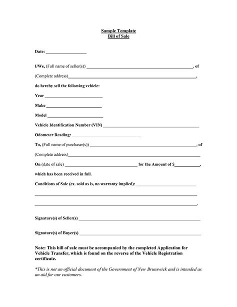 bill of sale template for a car bill of sale sle document mughals