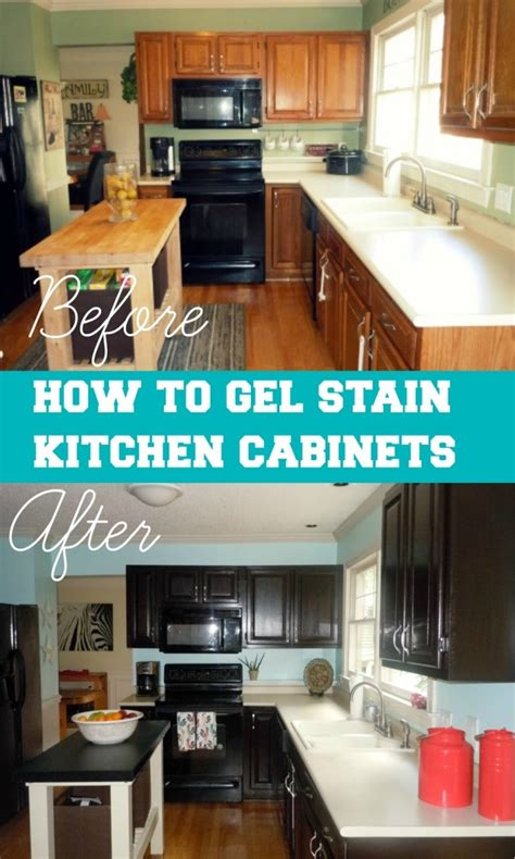 How To Stain A Kitchen Cabinet How To Gel Stain Your Kitchen Cabinets Favething
