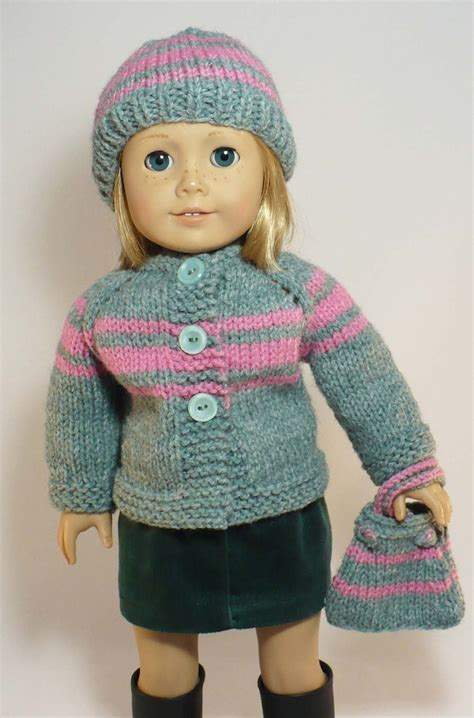 knit sweater skirt pattern american girl 18 inch doll clothes hand knit cardigan