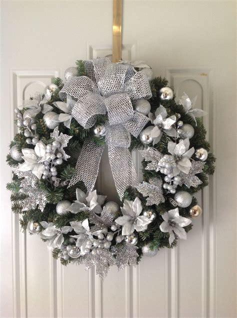 silver christmas wreath christmas or winter wreaths