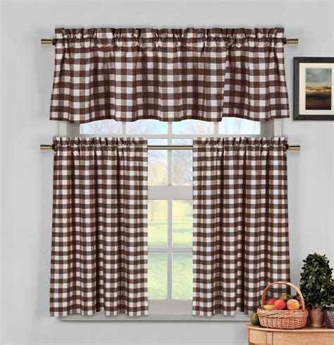brown white gingham checkered plaid kitchen tier curtain