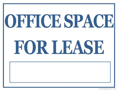 Office Space Lease Printable Office Space For Lease Sign
