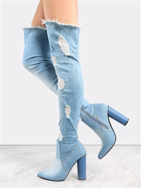 pointed toe distressed denim boots denim makemechic
