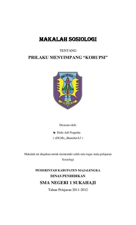 makalah sosiologi korupsi