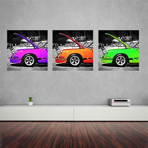 Tableau Et Toile by Tableau Toile Triptyque Porsche Vert Cars And Roses