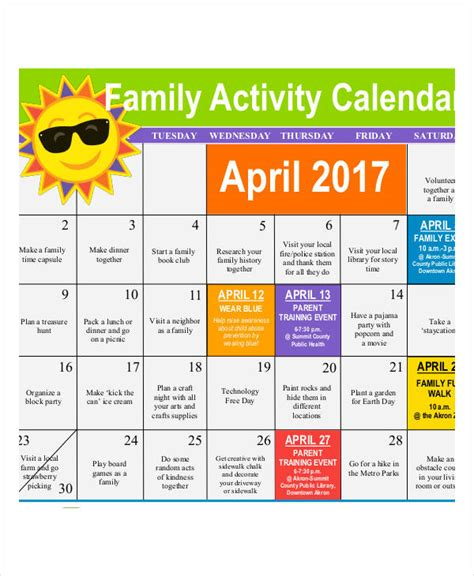 activity calendar template activity calendar templates 9 free pdf format