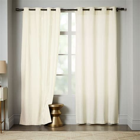ivory drapes linen cotton grommet curtain ivory west elm