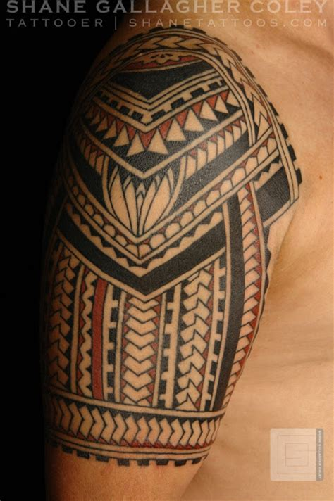 polynesian quarter sleeve tattoo designs shane tattoos polynesian half sleeve
