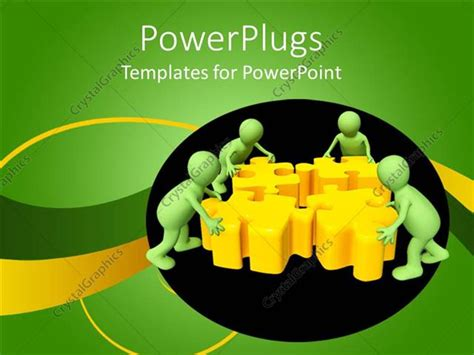 powerpoint template teamwork metaphor with green people