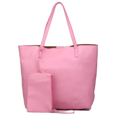 l1502 miss lulu leather look large vintage tote bag pink