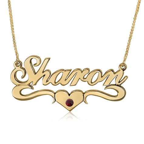 birthstone swoosh name necklace 24k gold plated