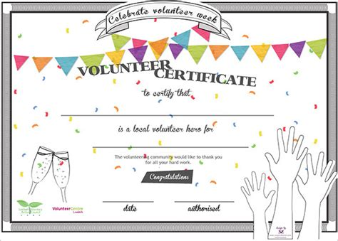 Volunteer Of The Year Certificate Template by 11 Volunteer Certificate Templates Sle Templates